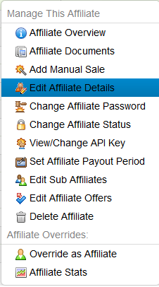 Edit the Affiliate Admin Settings