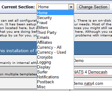 Available Configuration Admin Sections
