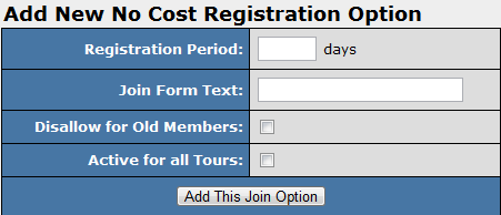 Adding a New No Cost Registration Option