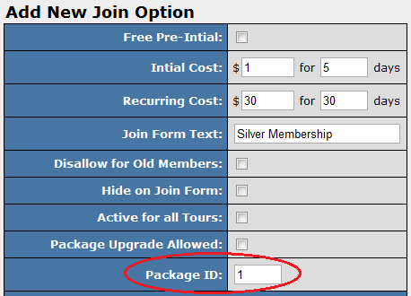 Adding a Package ID