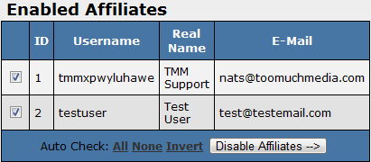 List of Enabled Affiliates