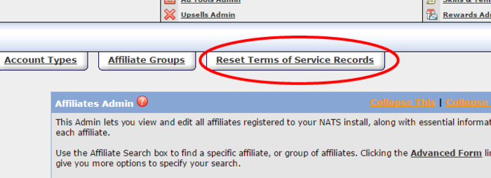Reset Affiliate Agreement if the Terms of Service changes