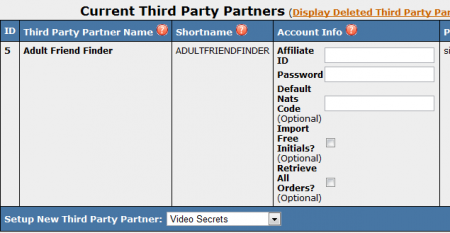 Current Third Party Partners Page