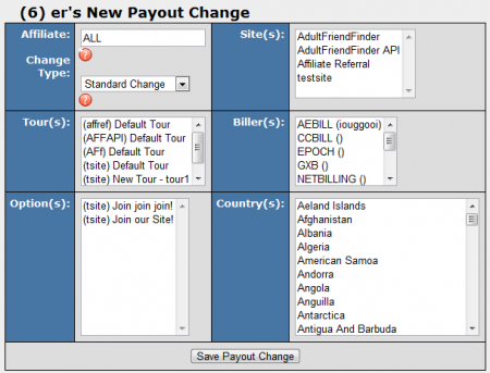 Adding a New Payout Change