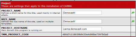 CARMA Project Settings