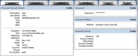 Setting Your Account Details