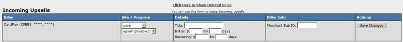 Configuring Biller for Incoming Upsell