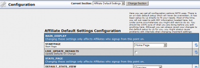 Affiliate Default Settings Section