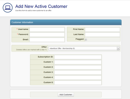 Add a New Active Customer Form