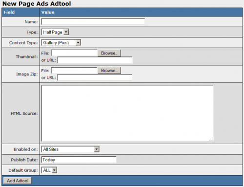 Adding a New Page Ad Adtool in NATS