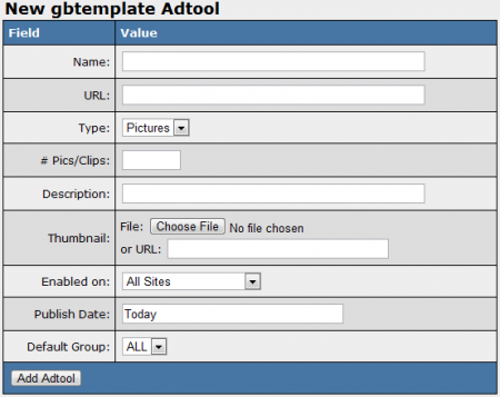 Creating a New gbtemplate Adtool