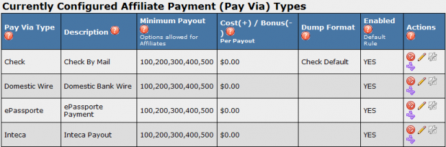 Pay Via Types