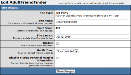 Editing AdultFriendFinder