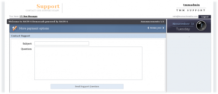 Figure 1.1 - Affiliate Support Page Default