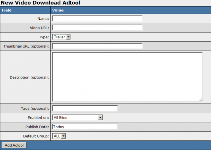 Adding a New Downloadable Adtool