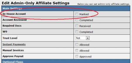 Making an Affiliate an In-House Account