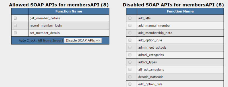 SOAP API permissions allow you to set available functions per account.
