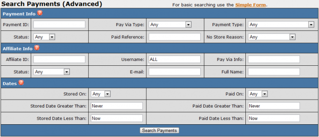Advanced Payment Search
