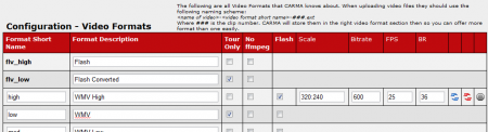Available Video Formats in CARMA